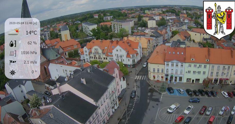Sulechów, kościół pw. Podwyższenia Krzyża Świętego oraz rynek
